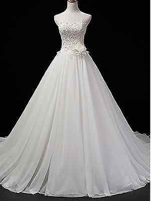 Strapless wedding dress bridal gown applique beaded custom size 6 8 10 12 14 16+