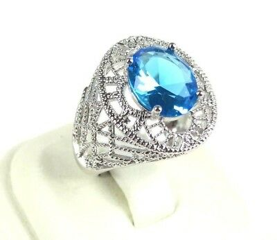 R#6030 simulated Sea Blue Topaz Gemstone solitaire ladies silver ring size 7