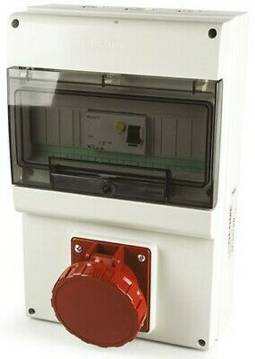 RS Pro IP66 Red Female 3P+N+E RCD Socket Rated At 63A, 400V 671.6317-RW