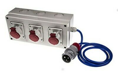 RS Pro 16A Red 3+N+E 3 Gang Industrial Power Sockets 415V 3 Phase Extension IP44