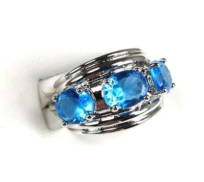R#4002 simulated 3-Stone Sea Blue Topaz gemstone ladies silver ring size 7