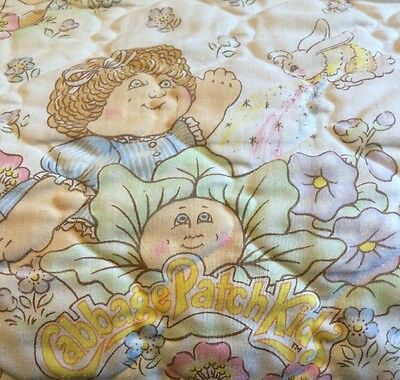 Vintage Cabbage Patch Kids Twin Bedspread 1983 Ruffle Pink Trim Boys Girls