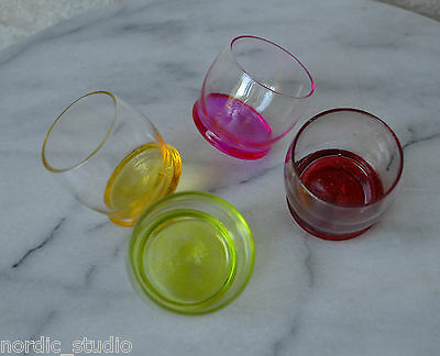 Vintage Roly Poly Shot Glasses - Set of 4 , Round Bottom