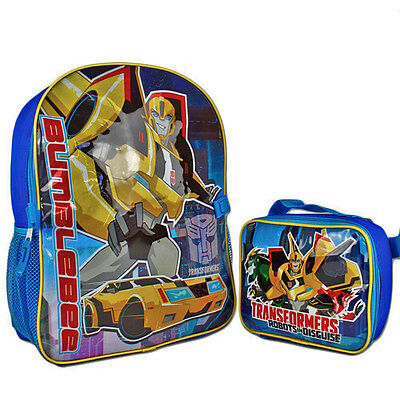 "Transformers Robots in Disguise 16"" Large Backpack with Detachable Lunch Bag Boy"
