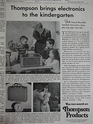 1955 Thompson Made Bell Tape Recorder Model RT-75 Now In Schools Advertisement
