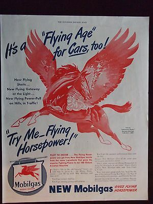 "1943 Mobilgas ""Try Me - Flying Horsepower!""  Advertisement NICE!"