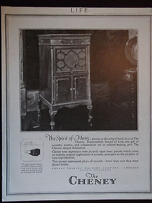 1920 The Cheney The Spirit Of Music Cheney Talking Machine Co. Advertisement