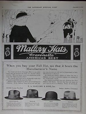 1916 Men's Mallory Hats With Cravenette Finish 4 Styles Shown Advertisement