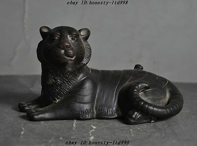 Old China Yixing Zisha Pottery Carved Fengshui Animal Zodiac Tiger Tigers Statue