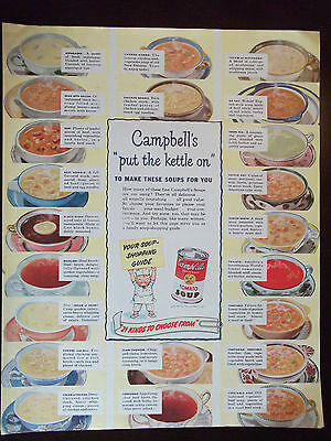 1949 Campbell's Soup Ad 22 Kinds Listed Original Vintage Advertisement