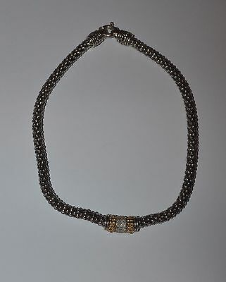 Designer Sterling Silver 14 K Gold And Diamonds Wide Necklace