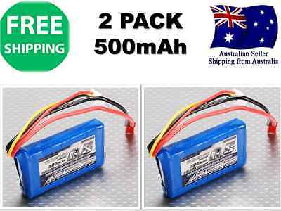 2 Pack TURNIGY 500mAh 2S 20C 7.4v JST-HX LIPO Battery RC Plane Helicopter