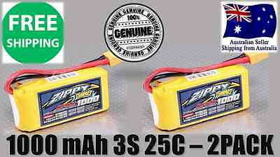 2 Pack ZIPPY COMPACT 1000mAh 3S 25C 11.1v XT60 LIPO Battery RC Plane Helicopter
