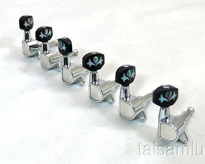 6p x Electric guitar machine head tuning pegs, inlay buttons -233C-BT15