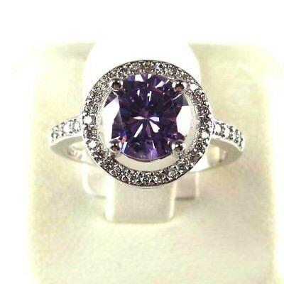 R#9020 simulated Purple Amethyst & Topaz Gemstone ladies silver ring size 10
