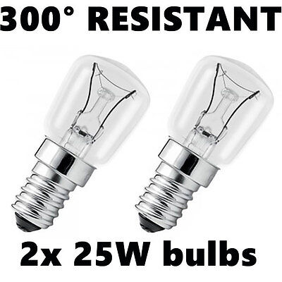2x Oven Appliance light Bulbs lamp 25W E14 SES up to 300° degrees resistant