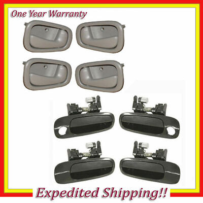 8 Door Handle 98-02 Toyota Corolla Prizm 4 Outer Non Painted + 4 Inner Gray DS27