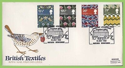 G.B. 1982 British Textiles set on Royal Mail First Day Cover, Matlock