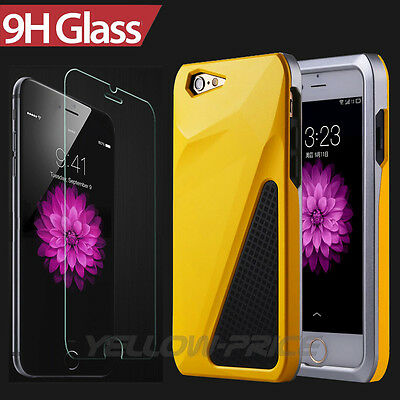 """Real Glass Screen Protector+Hybrid Armor Case for iPhone 6 6S 4.7"""" Anti-Shock"""