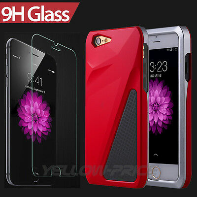 Latest Design Hybrid Armor Case+Real Tempered Glass Screen for iPhone 6 6S+ Plus