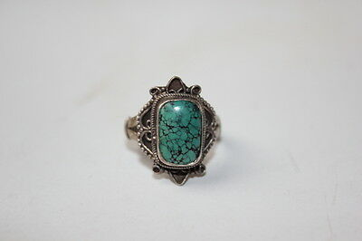 Antique Chinese Turquoise Silver Lady  Ring