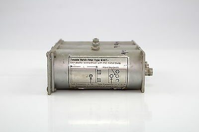 MICROWAVE FILTER 6367-2 TUNABLE NOTCH FILTER 3 CAVITY 50-108 MHZ used