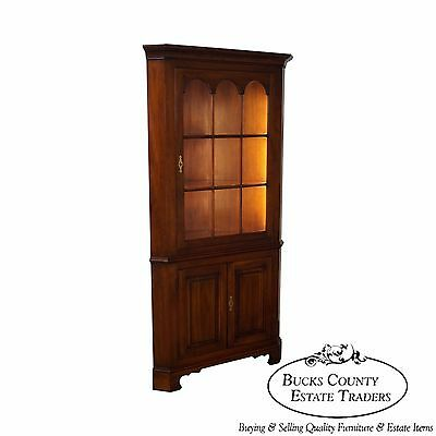 Statton Centennial Finish Solid Cherry Chippendale Style Corner Cabinet