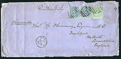 ST. CHRISTOPHER: (1214) QV 1/8d rate (missing 6d stamp) cover