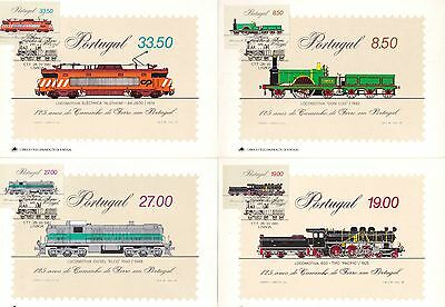 Portugal 1981 Locomotives - Trains History Set of 4 Maximum Cards