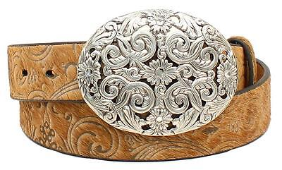 Ariat Western Womens Belt Leather Calf Hair Scroll Tan A1521808
