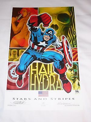 2016 SDCC HAIL HYDRA ART PRINT SIGNED BY FRANK CHO & BRANDON PETERSON 11x17