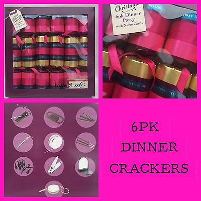 6  Dinner Party Christmas Crackers With Name Cards &  Gifts Pink Turquoise Gold
