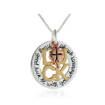*uk* 925 Silver Plt 'may Good Luck Be With Wherever You Go' Engraved Necklace 18