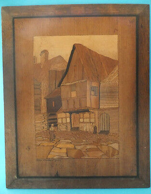Fine Veneered Marquetry Art Picture Founded in 1837 by Richard Graefe Tavern