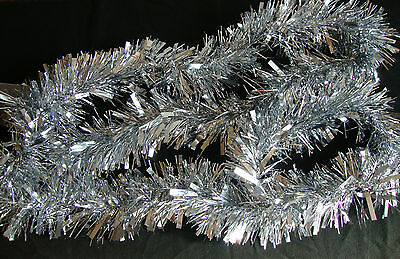 LUXURY Thick Silver Christmas Tinsel 2 METRE Garland Tree Decorations