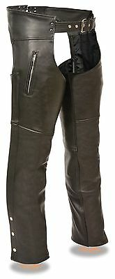 Men's Motorcycle Riders Zippered Thigh Pockets Bikers Chap Very Soft Leather