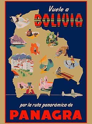 Vuele a Bolivia Panagra South America Vintage Travel Art Poster Advertisement