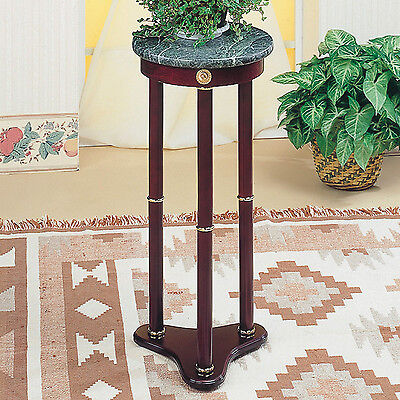 Indoor Plant Stand Wood Telephone Table Marble Top Pedestal Living Room Patio