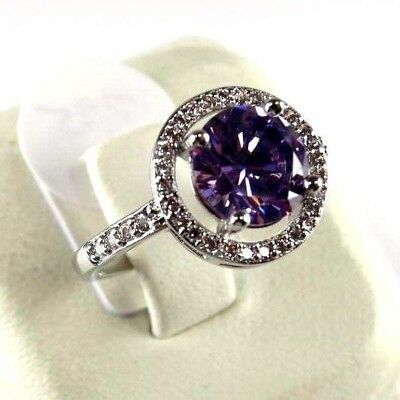 R#9001 simulated Purple Amethyst & Topaz Gemstone ladies silver ring size 7.25