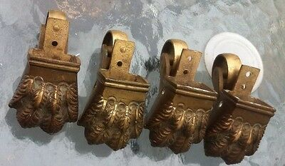 Set Of 4  Antique Brass Lion's Paw Casters