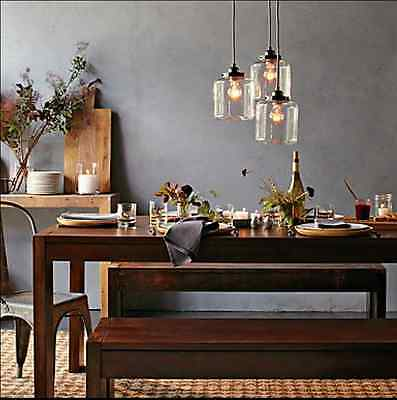 Pendant Light with 3 Glass Jar Shade Ceiling Hanging Lamps