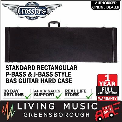 New Crossfire P-Bass Style Electric Bass Guitar Hard Case Black