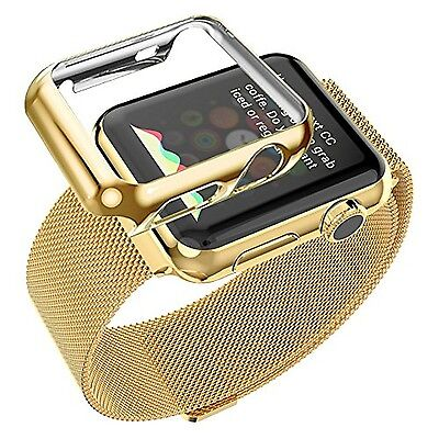 Watch Wrist Band Strap Apple 42 Mm iWatch Steel Gold Plated Case Milanese Metal