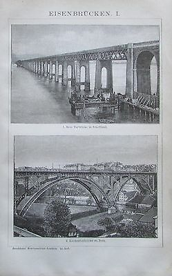 1892 EISENBRÜCKEN I-III Original 3 alte Drucke antik Lithografie antique prints