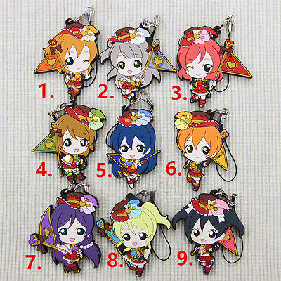 Love Live Anime Rubber Keychain Strap Charm Valentine Flag Gifts New Pendant