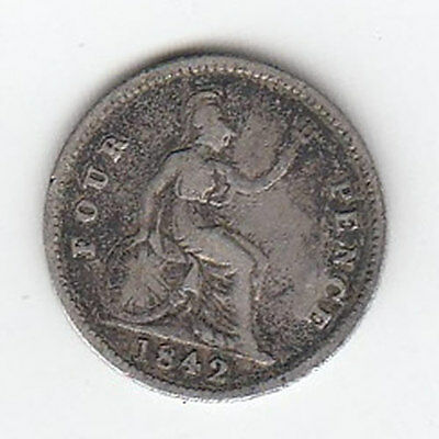 1842 Queen Victoria Fourpence - Nice Condition! (J)