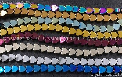 Natural Hematite Gemstone Multi-Color Flat Heart Beads 4mm 6mm 8mm 10mm 16''