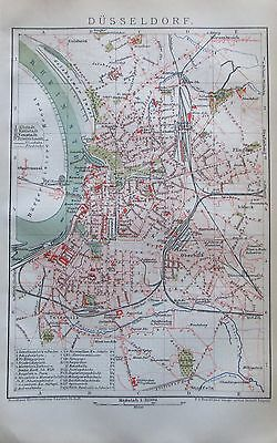 1892 Düsseldorf Original historischer Stadtplan Karte antique city map Litho