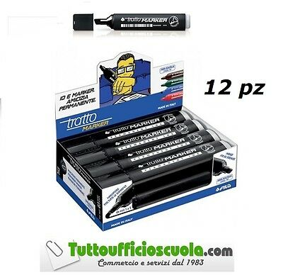 Marker Fila Indelebile Tratto Pennarello Punta Scalpello Nero New - Conf. 12 Pz
