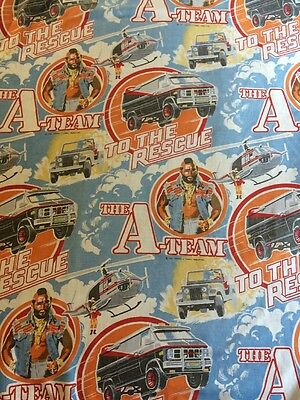 Mr T The A Team Fitted Twin Sheet Vtg 1983 Cutter Fabric Jeep Helicopter Blue
